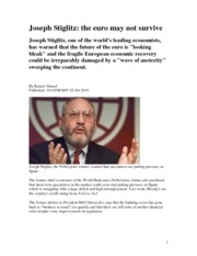 Joseph Stiglitz_The survive of the EURO 2.10.2010
