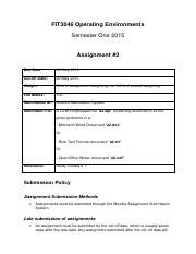 FIT3046 Assignment2 2015 memo and marking scheme