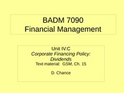 BADM 7090 IVC 2010 - Corporate Financing Policy (Dividends)