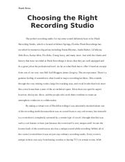 Choosing the Right Recording Studio