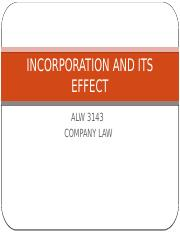 4.INCORPORATION AND ITS EFFECT