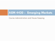 AEM 4420 Course admin and house keeping