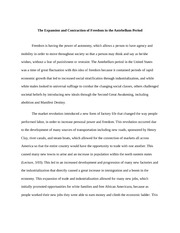 The Expansion and Contraction of Freedom in the Antebellum Period Essay