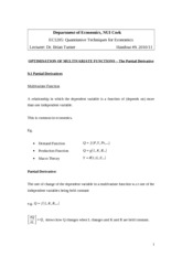 Handout 9 - Optimisation of Multivariate Functions - The Partial Derivative