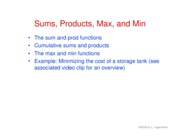 24. Sums, products, max and min