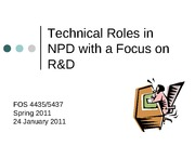 technical roles in npd
