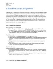 Education Essay Assignment