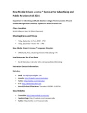 NMDL Syllabus Fall 2015 -  Walsh Section 743