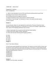 COMM 308 - Winter 2014 - Section I - Assignment 1 Solutions
