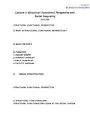 2 Lecture 1 Structural Functional Perspective And Social