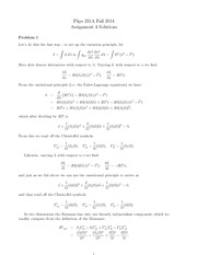 PHYS 231 Fall 2014 Assignment 4 Solutions