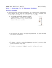 Worksheet on Atwood's Machine Problems