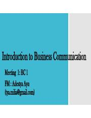 Meeting 1- Introduction to Business Communication and etiquette