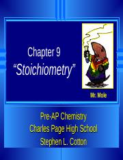 Chapter 9 Stoichiometry.ppt