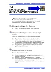 1.4 STARTUP AND BUYOUT OPPORTUNITIES