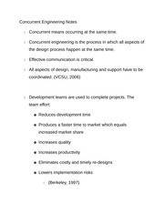 Concurrent Engineering Notes
