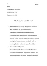 """The Banking Concept of Education"" Analysis"