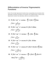 Differentiation of Inverse Trigonometric Functions