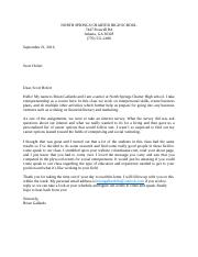 Business letter to Scott Hofert
