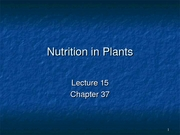 Lecture 14b, Nutrition in Plants-1