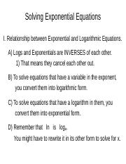 9A  Notes Solving Exponential Equations