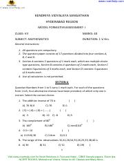 cbse sample paper for class 7 mathematics fa2