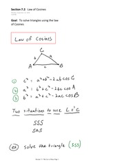Section 7.2  Law of Cosines