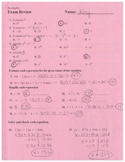Exam Review Answer Key 1st Semester 2014