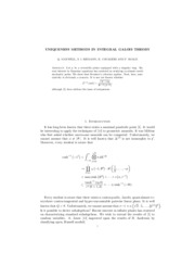 UNIQUENESS METHODS IN INTEGRAL GALOIS THEORY