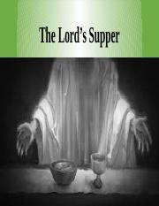 Lecture 28- Lord's Supper