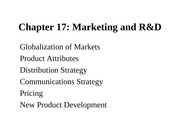 CH17 MARKETING AND R&D