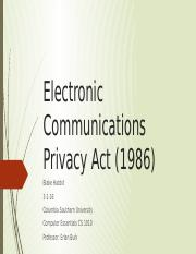 Electronic Communications Privacy Act (1986) Presentation