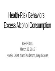BSHP5001 Excess Alcohol Consumption