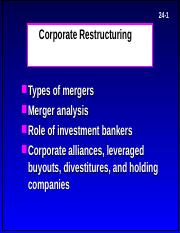 corp restructuring PPT - 24-1 Corporate Restructuring Types