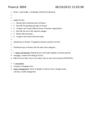 FINA 3000 Test 1 Class Notes