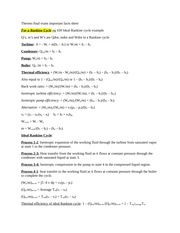 Thermo final exam important facts sheet