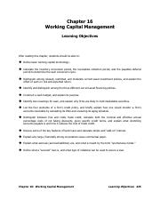 Chapter 16 (Working Capital Management)