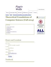 Theoretical Foundations of Computer Science (Fall 2014) - Pippin Wolfe