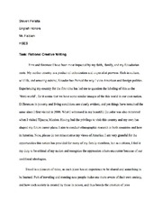 Task- Fictional Creative Writing on Self