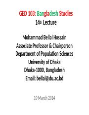 Bangladesh Studies_BUP_14th Lecture_10 March 2014