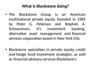 What is Blackstone doing