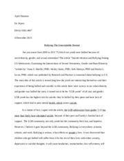 example of reflective essay on bullyingdocx   example of reflective   pages april shannon bullying