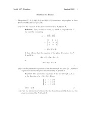 Exam 1 Solution Fall 2009 on Vector Calculus