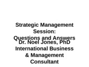 Strategic Management Sessions 9 to 13 Qs and As