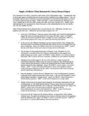 Samples of Effective Thesis Statements for Literary Research Papers