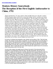 The Reception of the First English Ambassador to China, 1792