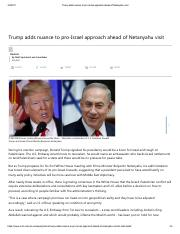 Matt Spetalnick-Trump adds nuance to pro-Israel approach ahead of Netenyahu visit-Feb 2017