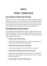 Etipro Bab 3 Bab 3 Teori Teori Etika Etika Absolut Versus Etika