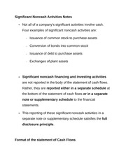 Significant Noncash Activities Notes