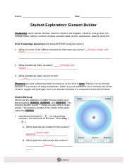 student exploration element builder ElementBuilderSE - Name Date Student Exploration Element Builder ...